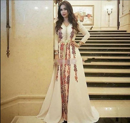 New Evening Dresses Moroccan Caftan Kaftan Amazing Embroidery V-neck  Occasion Prom Formal Gown Dubai Abaya Arabic Long Sleeve Prom Dresses 07f21192a024