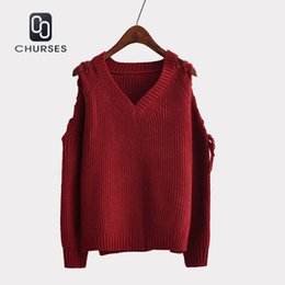 acbdf27cec Women Strapless Sweater Lace-up Design Pullovers Femmel 2018 Autumn Long  Sleeve V-neck Knitwear Loose Solid Pullover Jumper Tops Y18101603