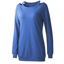 Womens Solid T Shirts NZ - t shirt women Long Sleeve Womens Clothing Strappy Cold Shoulder Solid T-Shirt Topss Tops Winter 2018 Women Shirts