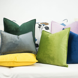 $enCountryForm.capitalKeyWord NZ - Blue Green Yellow Velvet Cushion Cover Hemming Envelope Pillowcase Throw Pillow No Balling-up Without Stuffing