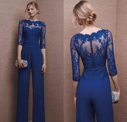 Blue Plus Size Jumpsuit Australia - Royal Blue 2019 Plus Size Mother Of Bride Pant Suit 3 4 Lace Sleeve Mother Jumpsuit Chiffon Cocktail Party Evening Dresses Custom Made