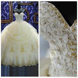 quinceanera dress two pieces 2019 - 2018 16 Years Dress Ball Gowns Quinceanera Dresses Lace Appliques Organza Gold Beaded Sequined Masquerade Debutante Gown
