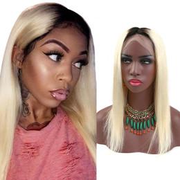 Front Lace Wig Human Hair Blond Canada - Brazilian Lace Front Wigs 1b 613 Blond Human Hair Lace Wigs for Black Women Medium Cap 130% Density Silky Straight