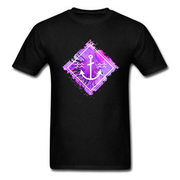 custom printed long sleeve t shirts UK - Watercolor Anchor Splatter Black T-shirt For Adult Group Men Custom Tops & Tees 100% Cotton Shirts Wholesale