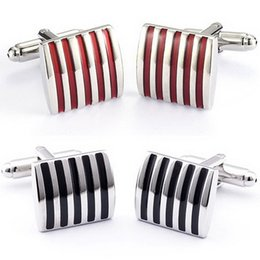 Discount plated mens silver cufflinks - 1pair Black  Red Cufflinks For Men Jewelry High Quality Hot Sale Classic Stripe Square Men Cuff Links Wedding Mens Custo