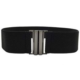 Band Belts UK - Elastic Band Wide Belts Simple Down Coat Waist Belts Female Buckle Cummerbund Black Strap Dress Decoration Gifts