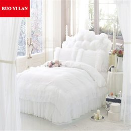 Pink Ruffles Lace Bedding Sets NZ - Romantic Princess White Bedding Set 4pcs silk Lace Ruffles duvet cover bedspread bed skirt bedclothes twin king queen Gift Bag