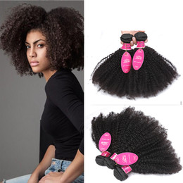Afro American Hair Australia - Peruvina Indian Mongolian Afro Kinky Curly Human Hair Unprocessed 8A African American Afro Kinky Curly Weave Natural Color Double Wefts