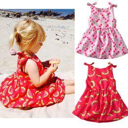 dcc1d81bf2 INS Baby girls Watermelon cherry bee print dress Children suspender Floral  princess Beach dresses 2018 summer Boutique kids clothing C4461