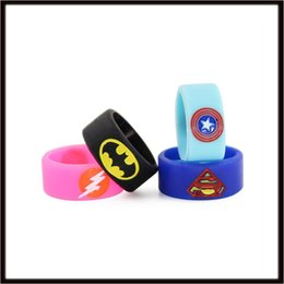 Superman Logo Glasses UK - Mixed Silicone Vape Band for Superman Batman Captain US Flash Engraved Logo Silicon Beauty Decorative Ring Glass Tanks Rda Mod