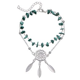 Green turquoise bracelet silver online shopping - Wholesales Turquoise Stone Alloy Pendant Ankle Bracelets Silver Chain Foot Stainless Steel Women Luxury Designer Jewelry Love Bracelets
