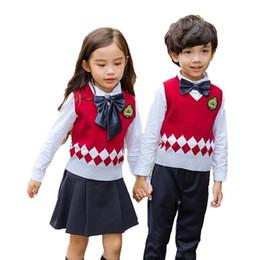 f40b7724d262a9 Kinder Anzug Mädchen Jungen Japaner Student Schuluniformen Hemd + Pullover  + Hose Tutu Rock + BowTie Set Anzug