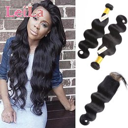 Discount baby hair bundles - Peruvian Virgin Hair Extensions With 4X4 Lace Closure 3pieces lot Body Wave Human Hair Bundles With Closure Baby Hair We