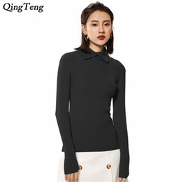 af17e30754b Sweater Women 2018 Autumn Winter Cashmere Wool Turndown Collar Ribbed Elbow  High Stretched Slim Fit Female Pullovers Pull Jumper