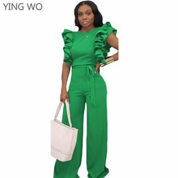 659dc8c48d New Arrivals Green Ruffles Fashion Women Full-length Jumpsuits Hot Sexy  Summer Open Back Night Out Club Wear Bodycon Jumpsuits