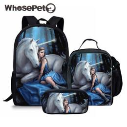 WHOSEPET 3Pcs Set Unicorn horse Printing School Bags for Kids Boys School  Backpacks Shoulder Bagpack Children Bookbag Satchel Y18120303 d0a36ccbce