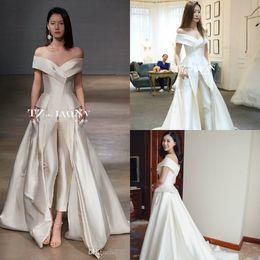 b28b9dfdcb4 Women Jumpsuit Long Train White Evening Dresses Off Shoulder Sweep Train  Elegant Prom Dress Party Zuhair Murad Vestidos Festa Custom Made