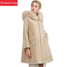 $enCountryForm.capitalKeyWord Australia - Beige Brown Sheep Wool Cashmere Coats Womens Fox Fur Hooded Winter Female Long Woolen Ladies Elegant Overcoat Coat Outerwear