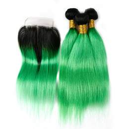 teal ombre hair NZ - Two Tone 1B Teal Ombre Hair Bundles with Closure Indian Green Ombre Straight Human Hair Weaves with Top Closure 4Pcs Lot