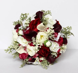 Roses calla lily online shopping - Red Wedding Bouquet Rustic Wedding Bouquet Silk Wedding Flowers Real to Touch Peonies Bridal Bouquet