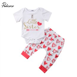 Discount sisters clothing set - Newborn Toddler Baby Girls Clothes Set Clothing Little Sister Short Sleeve Bodysuits Printing Pants Girl Casual Outfits