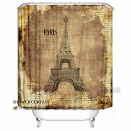 "$enCountryForm.capitalKeyWord Canada - Vixm Home Retro City - Eiffel Tower Paris France Fabric Shower Curtain European Landmark Building Bath Curtain With Hook Rings 72"" X 72"""