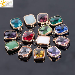 CSJA 10PCS Czech Faceted Square Pendant Austrian Crystal Glass Loose Beads  for Women Hand Craft DIY Jewelry Making Findings Accessories E964 4b0b79df0c4f