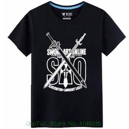 sword art cosplay 2018 - Sao Sword Art Online Cosplay Costume Cotton Tshirt Tee Sleeves Cotton T shirt Fashion discount sword art cosplay
