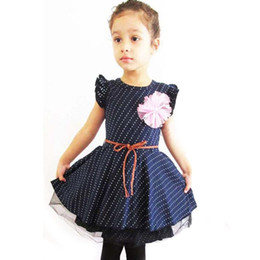 $enCountryForm.capitalKeyWord UK - Summer Dress For Girl Long Sleeve Princess Girls Dresses Dark Blue Dot Little Baby Birthday Party Dress Casual Kids Clothes