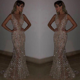 Wholesale 2019 Stunning Rose Pink Sequined Prom Dresses Sexy Spaghetti Straps Mermaid Sleeveless Evening Gowns party evening wear