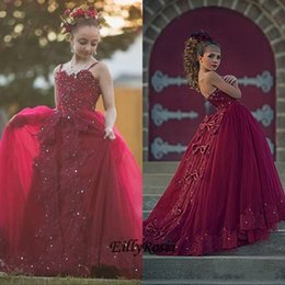 $enCountryForm.capitalKeyWord Australia - Vintage Burgundy Lace Flower Girl Dresses For Weddings Spaghetti Strap Crystal junior Girls Formal Dress Kids Prom Communion Gowns