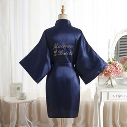 """Chinese  """"Mother of the Bride"""" Robe on the Back Wedding Robe Silk Satin Kimono Fashion Night Short Dressing Gown For Wome manufacturers"""