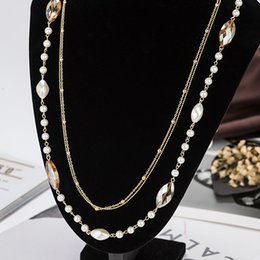 $enCountryForm.capitalKeyWord Canada - Agood high quality rose gold imitation pearl crystal sweater chain for women double layers long necklaces & pendants N00123