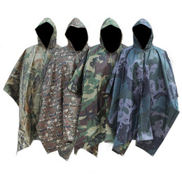 Jungle hunting online shopping - 6styles Multifunction Outdoor Camping Rain Cape Camouflage Jungle Hiking Rain Poncho Hunting Rain Coat Sun Shelter Ground picnic Mat FFA917