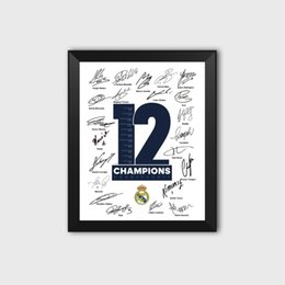 Frames Football online shopping - Royal Los Blancos th th European Champions League Crown Football Fans Autograph Poster Photo Picture Frame Ramos Decoration
