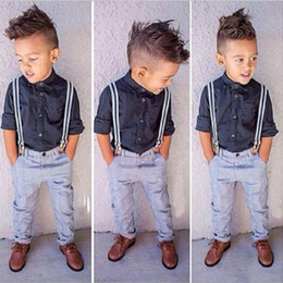 Children Clothes models online shopping - Fashion Kids Sprig Autumn Boy Clothing Set Gentleman Style Formal Party Suits Boy Modern Style Solid Blouse Blue Pant Child Pieces Set