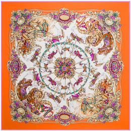 autumn head scarf 2019 - 2017 130*130cm Women scarf luxury brand floral shawl hijab women red silk head scarves summer autumn winter scarfs femal