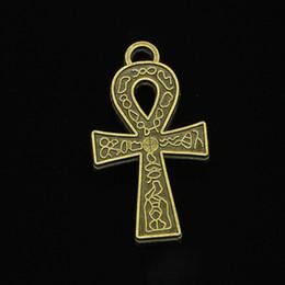 Ingrosso 34 pz Charms In Lega di Zinco Bronzo Antico Placcato egiziano ankh simbolo di vita Charms per Monili Che Fanno DIY Handmade Pendenti 38 * 21mm