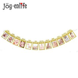 JOY ENLIFE 12pcs Set 12 Months Photo Banner Baby Girl Boy First Birthday Party Decorations Frame Home Decor