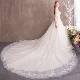 model fairy garden UK - Luxury Wedding Dresses 2018 New Bridal Gowns Lace Appliques Flowers Sheer Neck Fairy Keyhole Back Long Train Bohemian Wedding Gowns