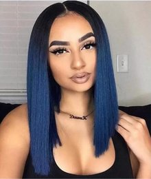 Ombre Bob Black Brown Wig Australia - Dark Root Ombre Blue Full Lace Wigs Black Bob Wig Malaysian Virgin Remy Human Hair Ombre Honey Blonde Bob Lace Front Wigs
