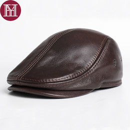 2017 Brand New style Men s Real Genuine Leather baseball Cap brand Newsboy  Beret Hat winter warm caps hats Cowhide cap 716a827d9cdf