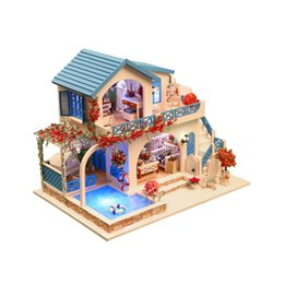 Diy 3d Light Toys For Children Furniture Dust Cover Wooden Miniature House Because I Met You Dollhouse Christmas Birthday M026 Elegant In Style Model Building Toys & Hobbies