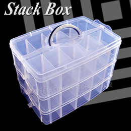 Big Storage Boxes Australia - Big Stack Box Accessory Storage 3 layers adjustable slots removable dividers for DIY Nail Jewelry beads home Organizer container