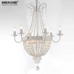 $enCountryForm.capitalKeyWord Australia - Vintage French Empire Crystal Chandelier Light Fixture Vintage Crystal Lighting Wrought Iron White Chrome Black color