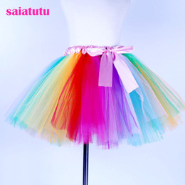 red white blue tutus Australia - fluffy tulle kids children girl tutu rainbow skirt toddler baby mini costume ball gown party ballet dance wedding pettiskirt
