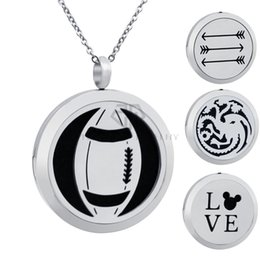 $enCountryForm.capitalKeyWord NZ - Chain as Gift ! 30mm Stainless steel Rugby Design Essential Oil Magnetic Locket Pendant Silver Color Aromatherapy Diffuser Locket Necklace