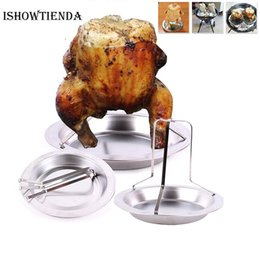 Discount outdoor kitchens grills - New Qualified Kitchen Outdoor BBQ Tools Chicken Duck Holder Rack Grill Stand Roasting BBQ Rib Non Stick Stainless Steel