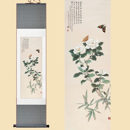 Silk flower spray paint australia new featured silk flower spray chinese silk watercolor ink wash flower white camellia butterfly feng shui art wall picture damask framed scroll canvas painting mightylinksfo