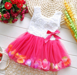 $enCountryForm.capitalKeyWord Canada - Baby clothes Princess girls flower dress 3D rose flower toddler kids dot bowknot tutu dress baby girls flower bubble gown one-piece